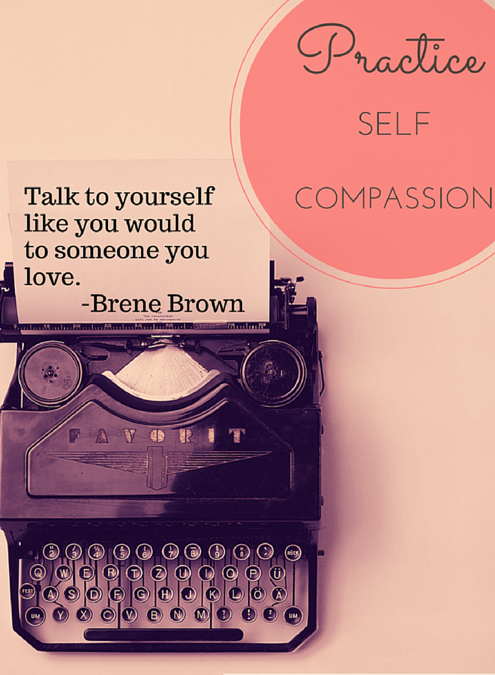 Typewriter with Brene Brown Quote Practice Self Compassion A Teacher's Best Friend Blog Post Become a Better Teacher #Teacher #Self-Compassion #Self-Improvement #Vintage